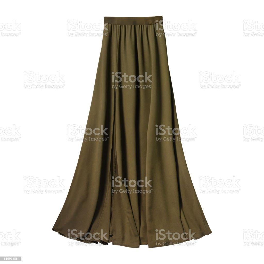 Khaki airy subtle long elegant maxi skirt isolated white stock photo