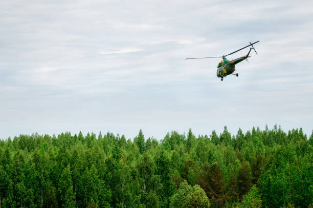 Khaki colored helicopter is flying in sky above forest stock photo