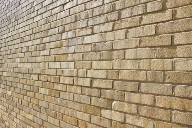 Khaki Colored Tan Brick Wall Background Stock Photo