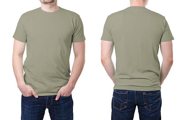 Khaki t-shirt auf einen jungen Mann-Vorlage – Foto