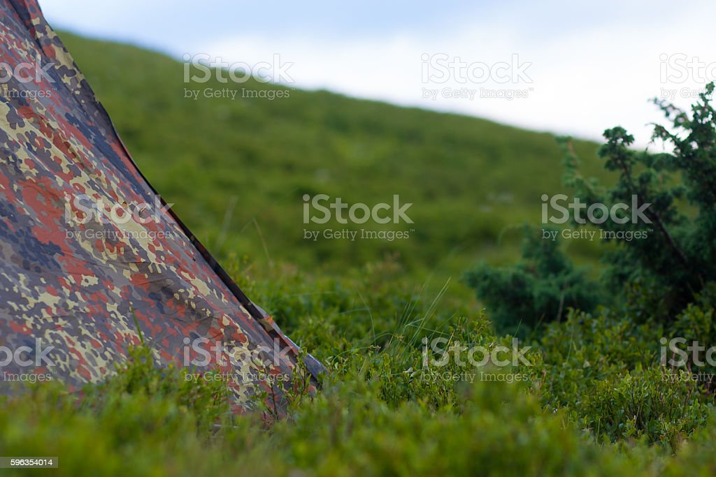 khaki tent in the mountains of the Carpathians royalty-free stock photo