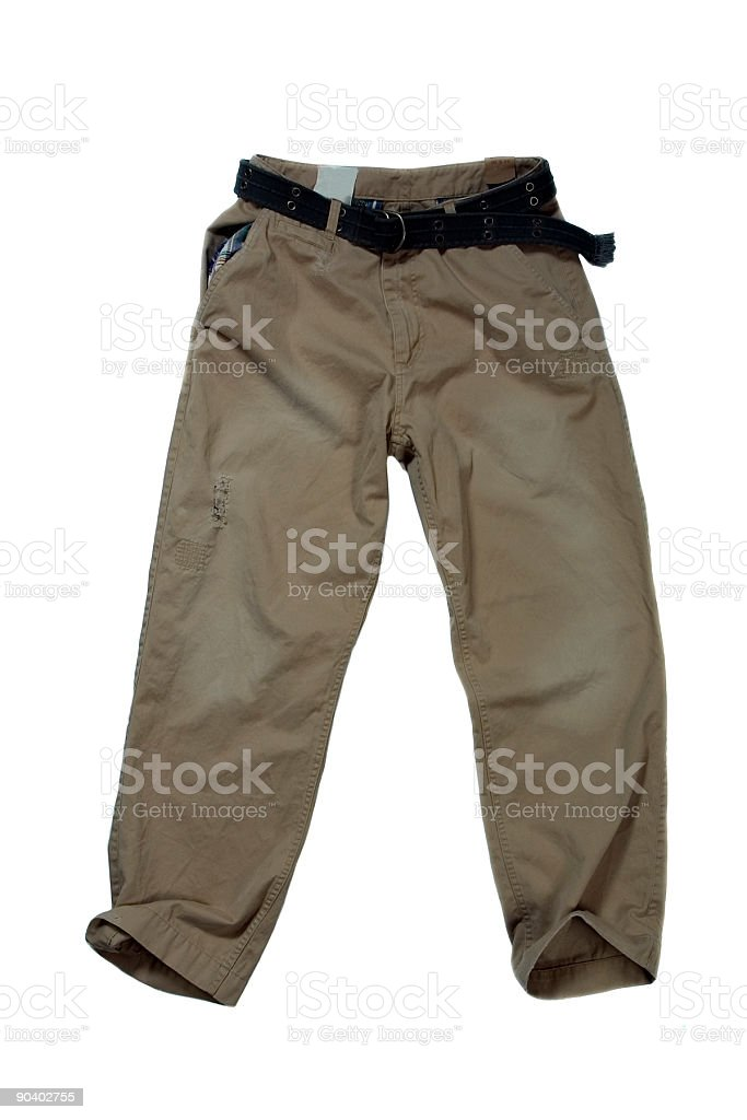 Khaki Trousers - Casual Pants on White Background stock photo