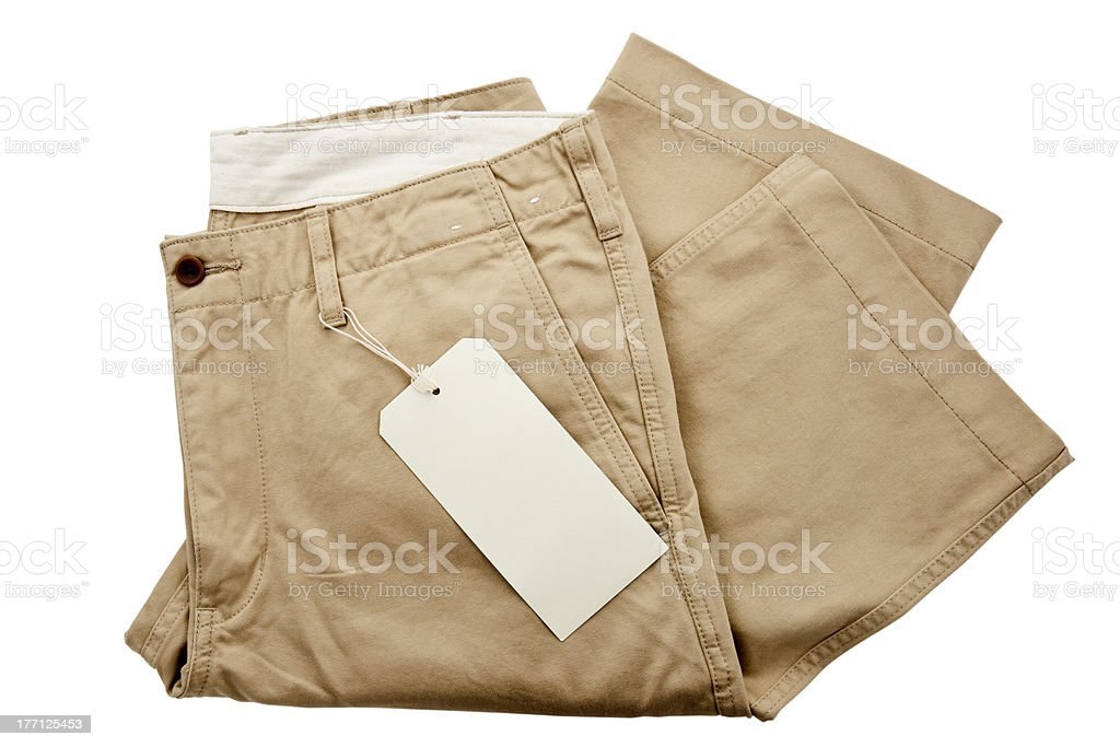 Khaki trousers with tagging stock photo