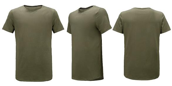 Khaki t-shirt isolated on white background.