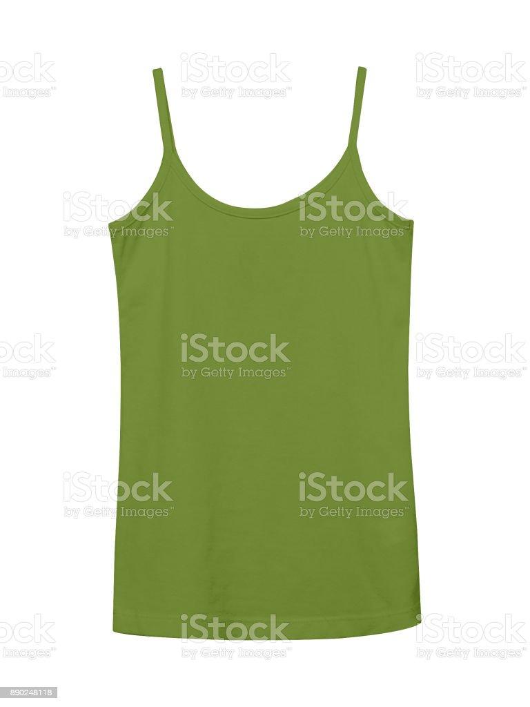 Khaki underwear sleeveless empty summer t shirt camisole isolated on white stock photo