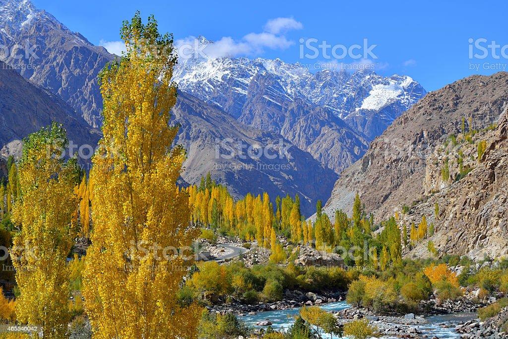 Khalti Lake. Ghizer Valley. Northern Pakistan. stock photo