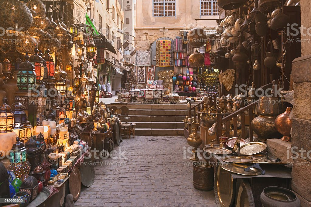 Khan al-Khalili Bazaar Khan el-Khalili is a major market in the Islamic district of Cairo. The bazaar district is one of Cairo's main attractions for tourists and Egyptians Africa Stock Photo