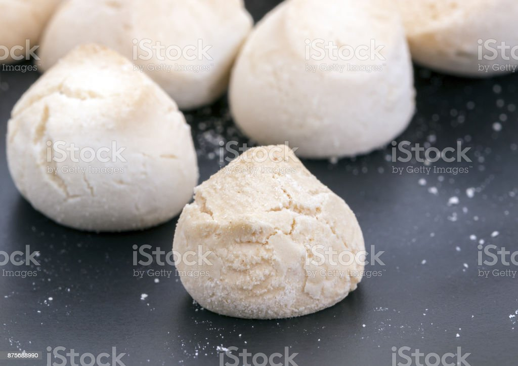 Khanom Ping - Thai sweetmeat made of flour, egg and sugar. stock photo