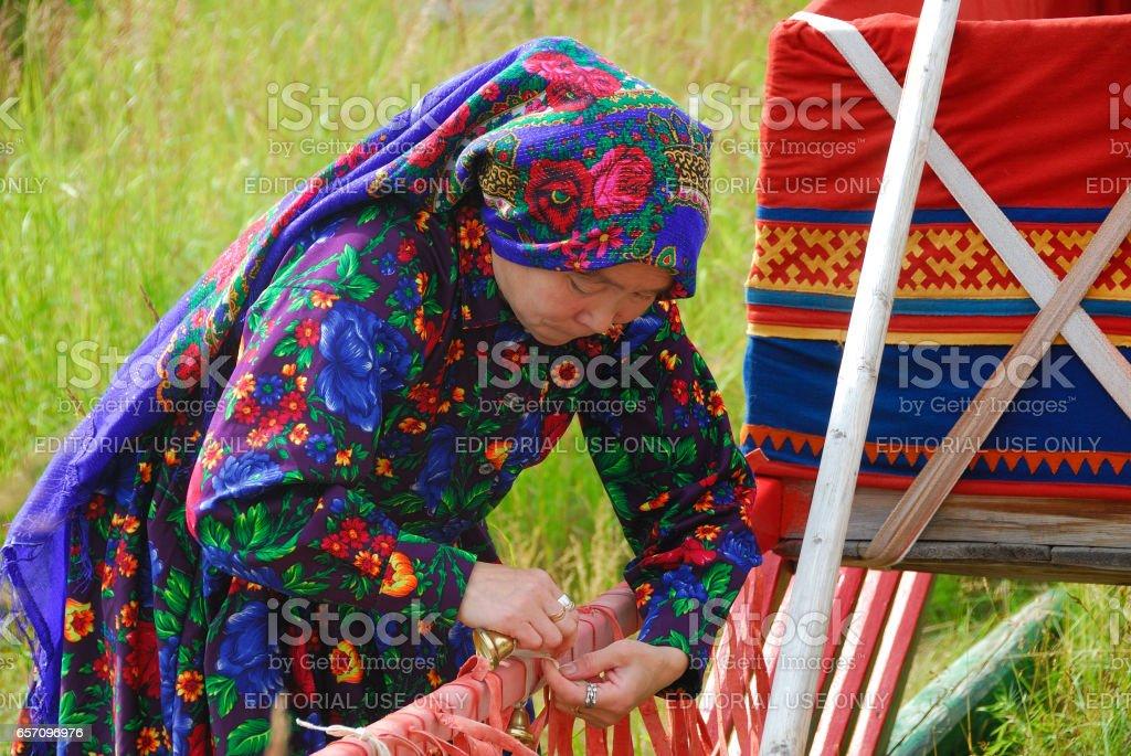 Khanty herder woman stock photo