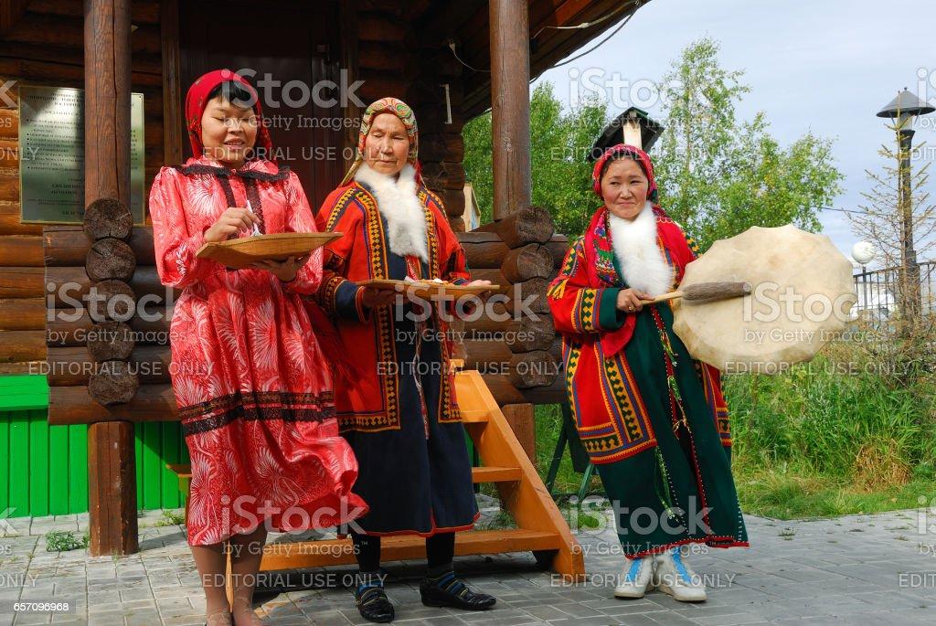 Khanty herder women stock photo