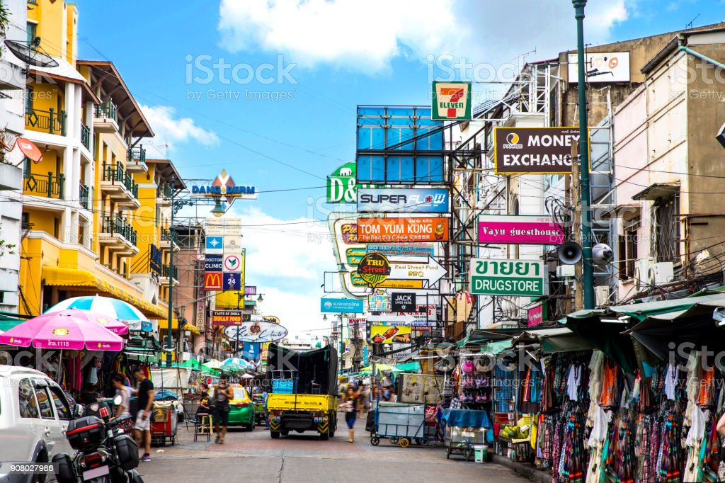 Khao San Road in Bangkok - Thailand stock photo
