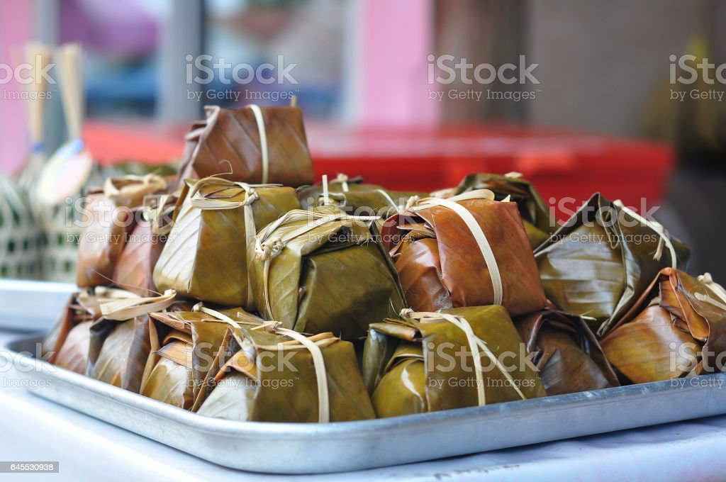 Khao tom mat or Banh Chung. stock photo