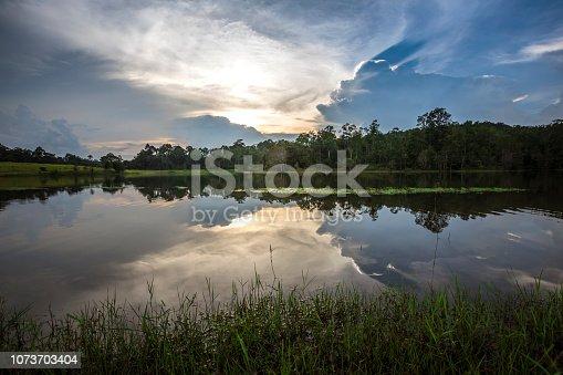 Sunset on reservoir of Sai sorn at Khao Yai National Park, Thailand.
