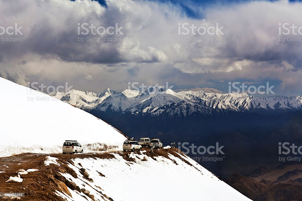 Khardung La pass, India Khardung La pass, India. Khardung La (Khardung Pass, La means pass in Tibetan) is a high mountain pass located in the Ladakh region of the Indian state of Jammu and Kashmir. The elevation of Khardung La is 5,359 m. Asia Stock Photo