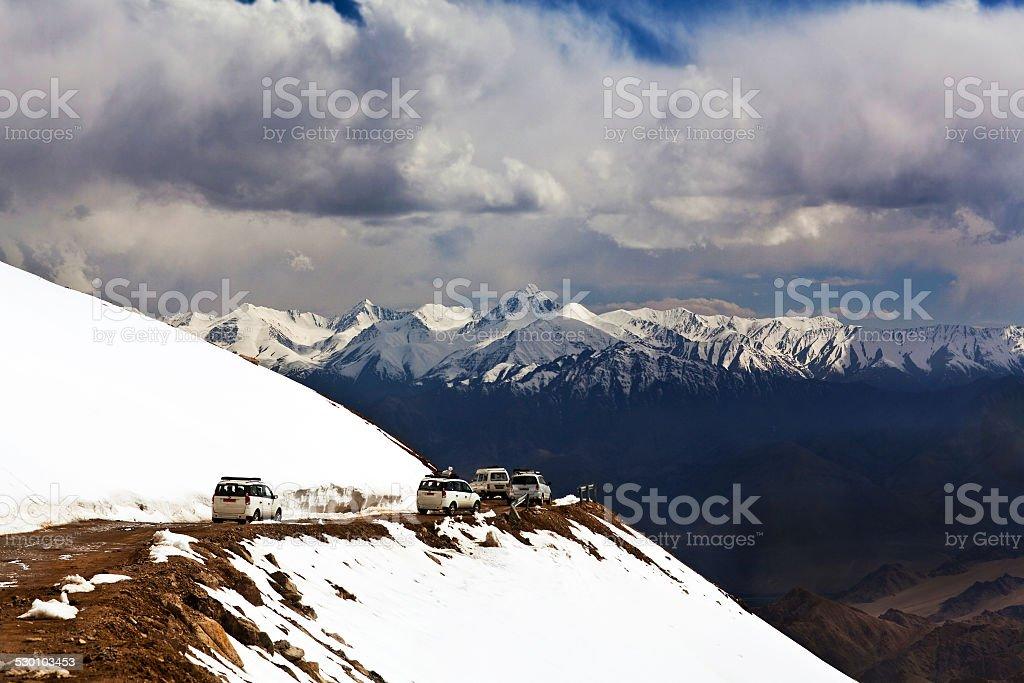 Khardung La pass, India stock photo