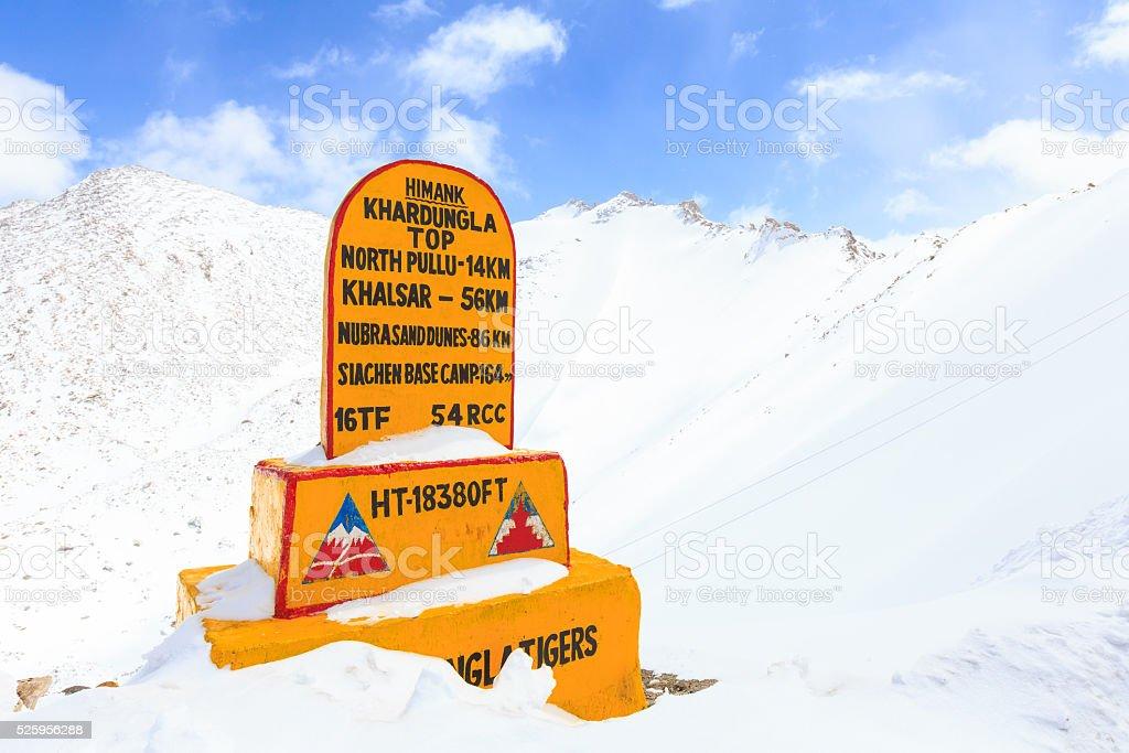 Khardung La Top or Khardungla pass stock photo