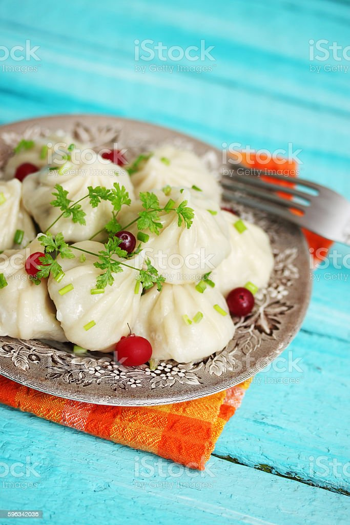 khinkali with cranberries royalty-free stock photo