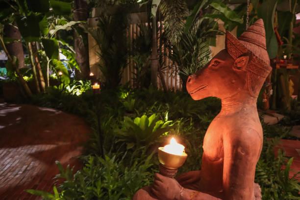 Khmer guardian lion statue stock photo
