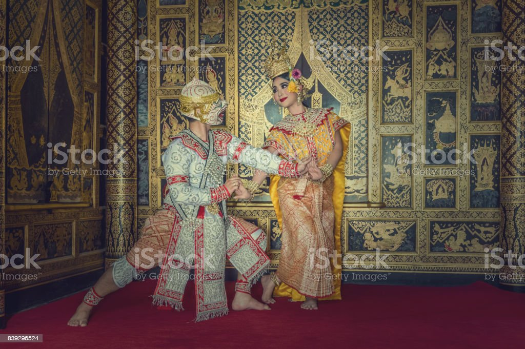 Khon, pantomime performances action of Thailand, a kind of Thai drama, Hanuman Monkey performing action with beautiful sida at  Wat Phra Khao temple in Ayutthaya province stock photo