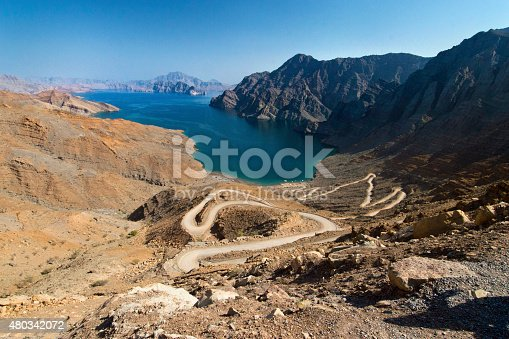 Khor (fjord) in Musandam, Oman