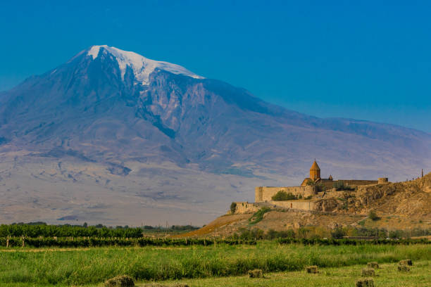 Khor Virap, Armenia Armenia is a wonderful mix of soviet heritage and orthodox landmarks, surrounded by a stunning history. Here in particular the Khor Virap monastery, with the Ararat on the background yerevan stock pictures, royalty-free photos & images