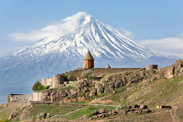 Khor Virap Church Complex and Mount Ararat, Armenia. Khor Virap, Armenian orthodox religious complex with Mount Ararat in the background, in Artashat, Armenia. armenia country stock pictures, royalty-free photos & images