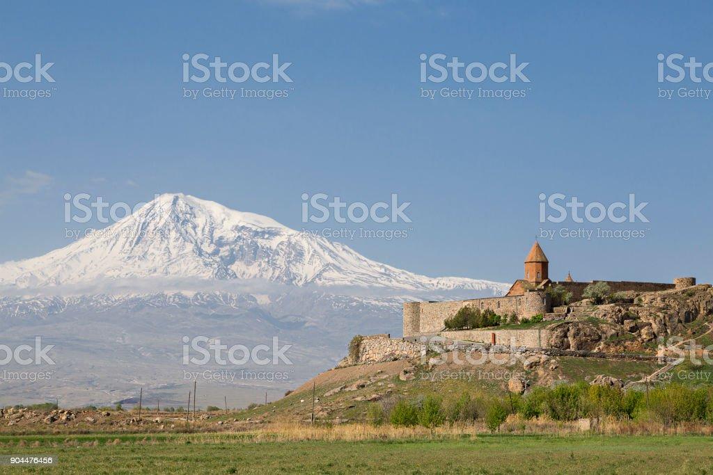 Khor Virap Church Complex and Mount Ararat, Armenia. stock photo