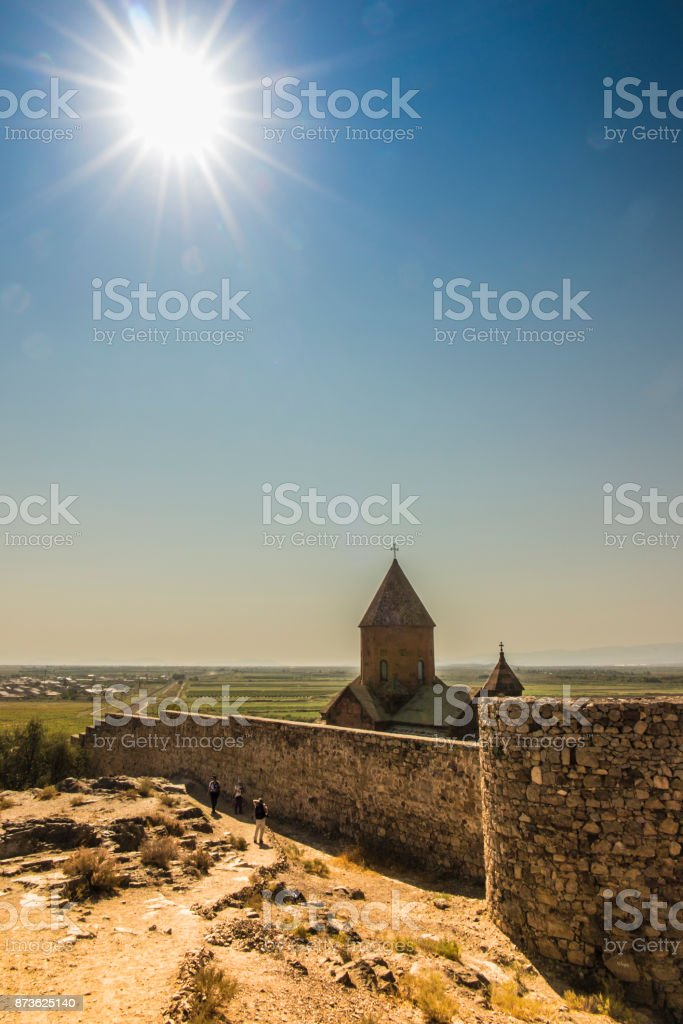 Khor Virap ( the deep dungeon) is an Armenian monastery located near the border with Turkey. stock photo