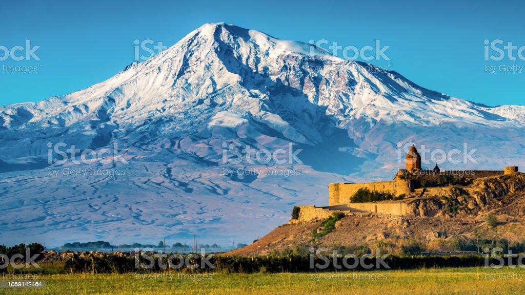 Khor Virap Monastery and Mt. Ararat stock photo