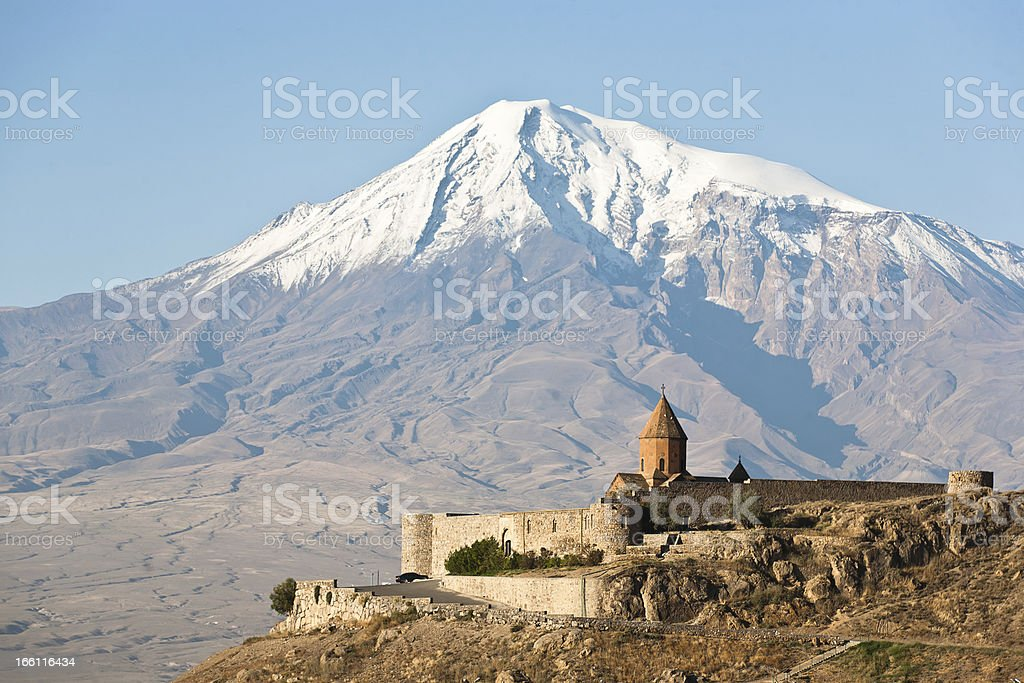 Khor Virap Monastery in front of a large mountaintop stock photo