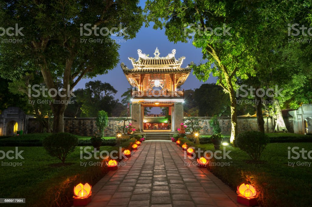 Khue Van Cac ( Stelae of Doctors ) in Temple of Literature ( Van Mieu ) at night. The temple hosts the 'Imperial Academy', Vietnam's first national university, was built in 1070 stock photo