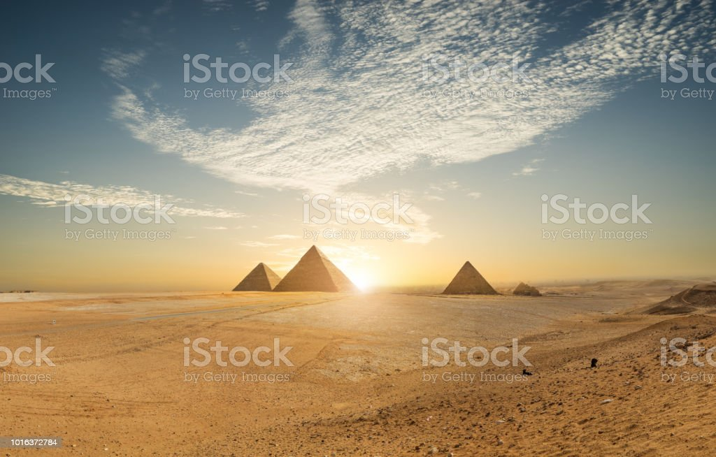Khufu pyramid and empty square, Cairo, Egypt stock photo