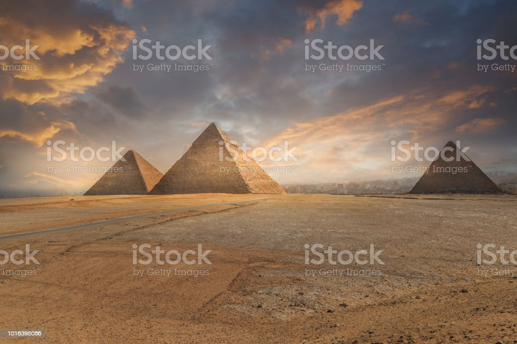 Khufu pyramid and empty square , Cairo, Egypt stock photo