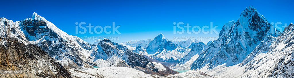 Khumbu mountain peaks panorama Lobuje Ama Dablam Cholatse Himalayas Nepal stock photo