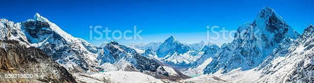 Photo of Khumbu mountain peaks panorama Lobuje Ama Dablam Cholatse Himalayas Nepal