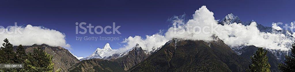 Khumbu valley vista Himalaya high altitude peaks panorama Nepal stock photo