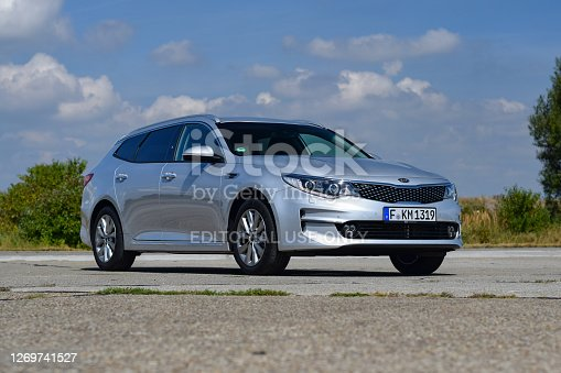 Leipheim, Germany - 30 August, 2016: Kia Optima SW GT stopped on a road. The Optima SW was the largest combi in European offer.