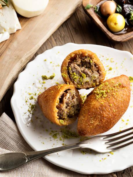 Kibbeh,stuffed meatballs,food,falafel stock photo