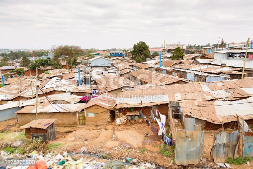 Nairobi, Kenya, Kibera is the biggest slum in Africa and one of the biggest in the world.