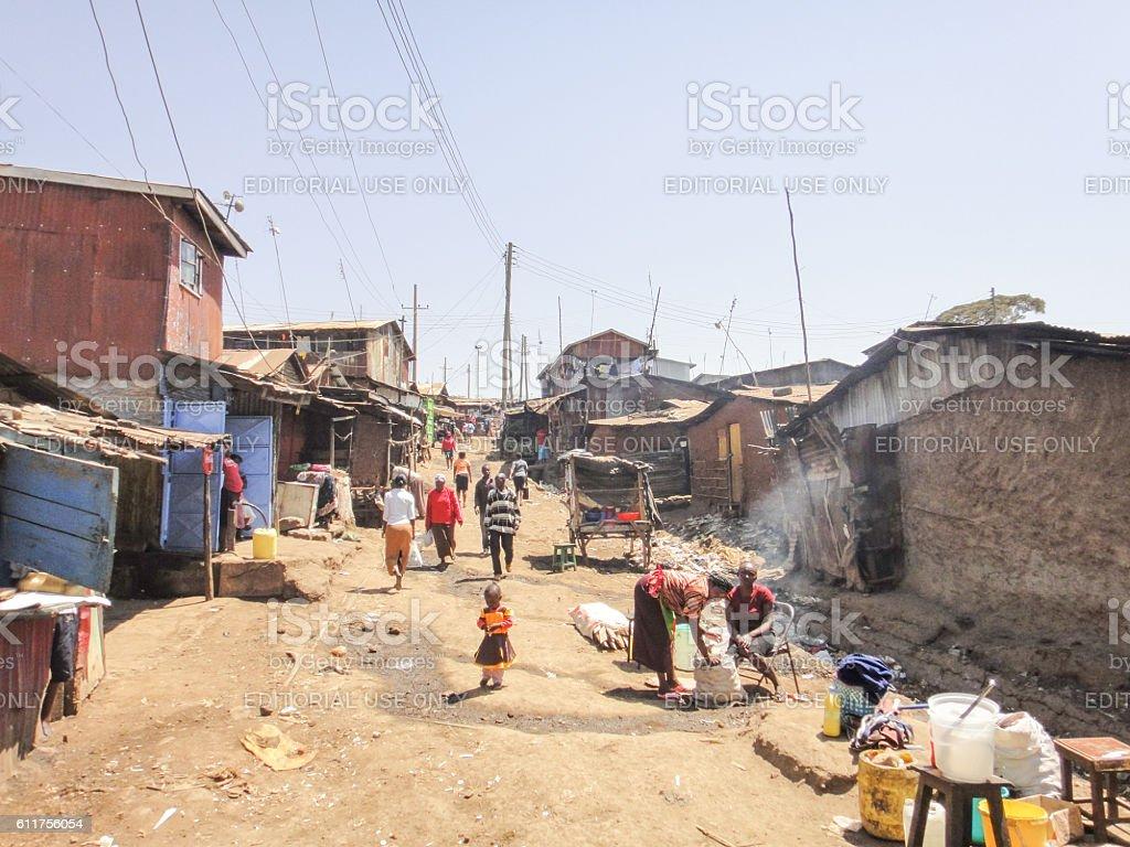 Kibera slum near Nairobi stock photo