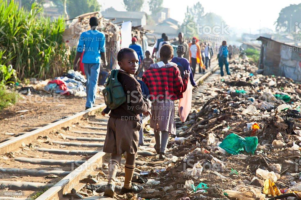 Kibera slums in Nairobi, Kenya. stock photo