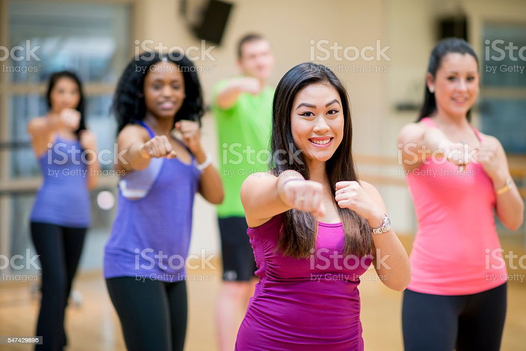 Kick Boxing Class at the Gym stock photo