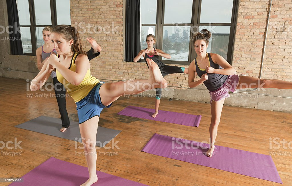 Kick Boxing Group Workout Exercise Training Hz stock photo