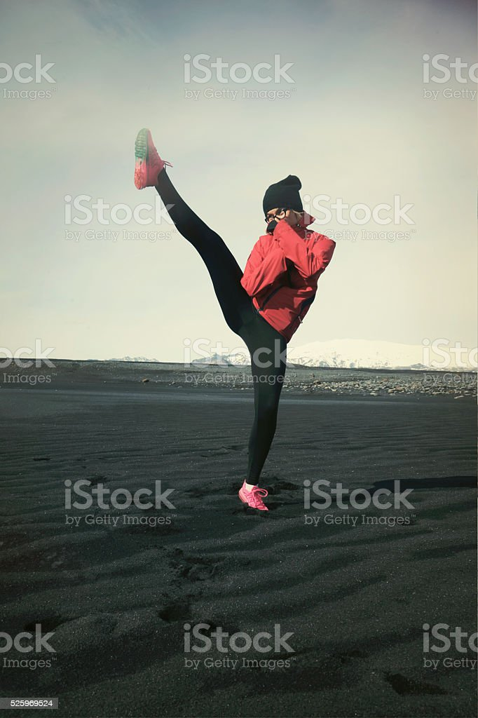 kick boxing on the beach stock photo