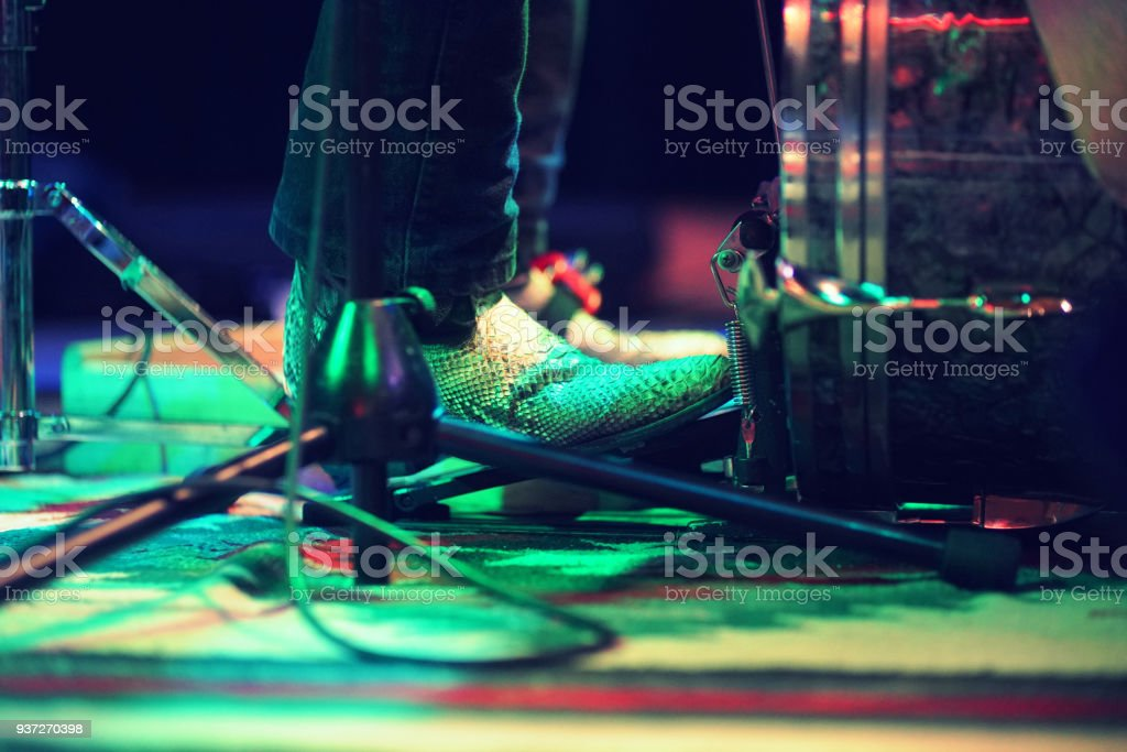 Kick the drum - on stage stock photo