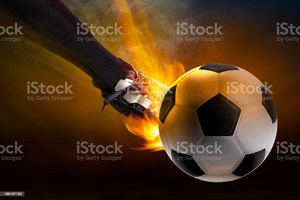 Kick the soccer ball stock photo