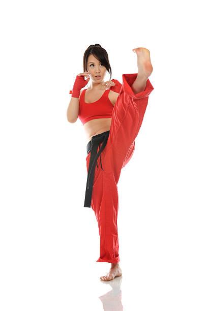 Kickbox routine stock photo