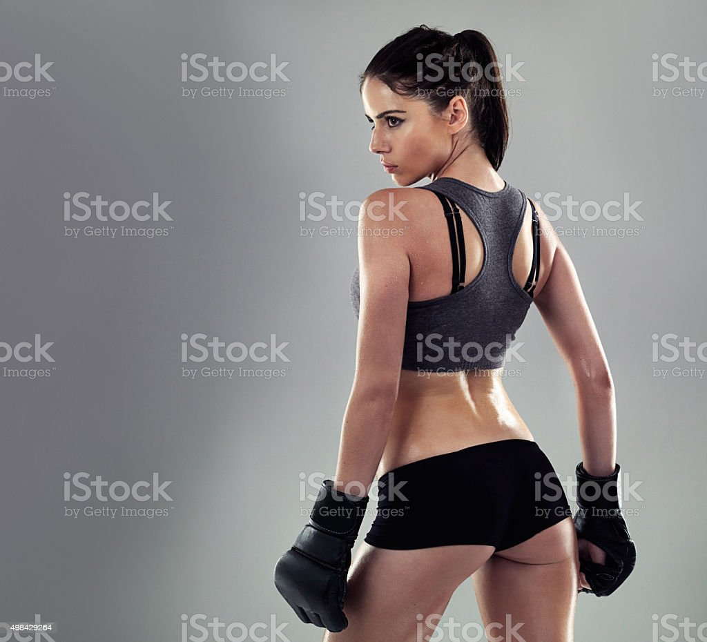 Kickboxing keeps her in shape stock photo