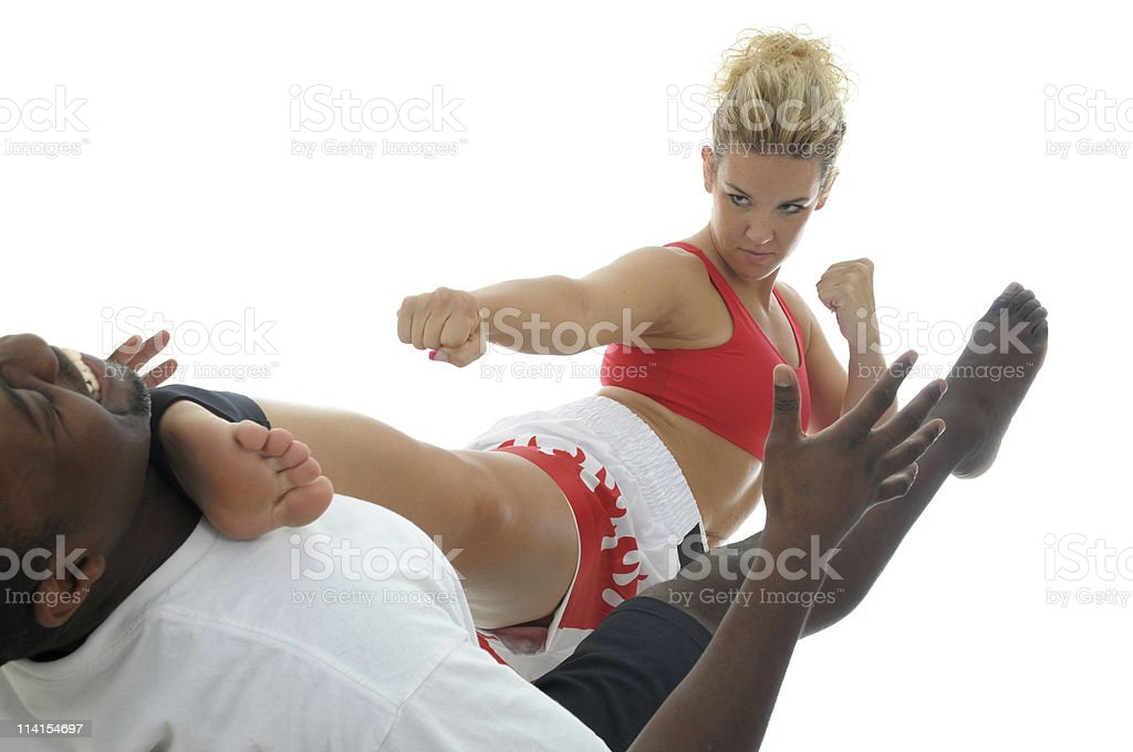 Kickboxing sparring stock photo