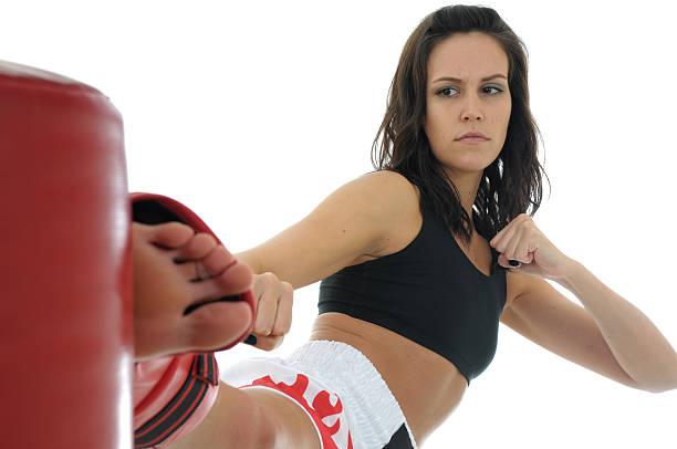 Kickboxing training and persistence stock photo
